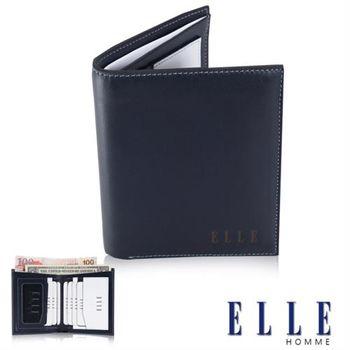 【ELLE HOMME】法式精品短皮夾幾何菱型白邊點綴元素設計嚴選頭層皮、名片格層(藍 EL81882-42)