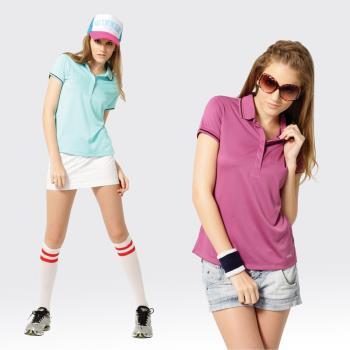 【SAMLIX山力士】女款 MIT 台灣製 吸濕排汗 涼爽紗 短袖 POLO衫#SP212(淺紫.藍綠)