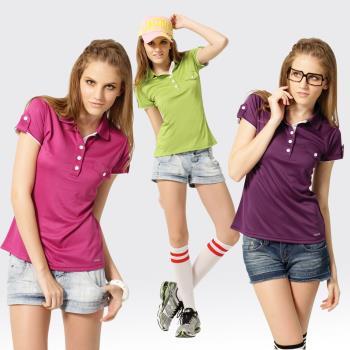 【SAMLIX山力士】女款 MIT 台灣製 韓版 吸濕排汗 涼爽紗 短袖 POLO衫#SP211(深紫.桃紅.綠色)
