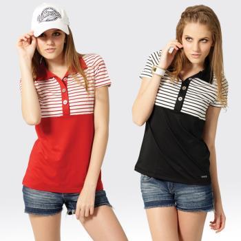【SAMLIX山力士】女款 MIT 台灣製 韓版 吸濕排汗 涼爽紗 短袖 POLO衫#SP209(黑色.紅色)