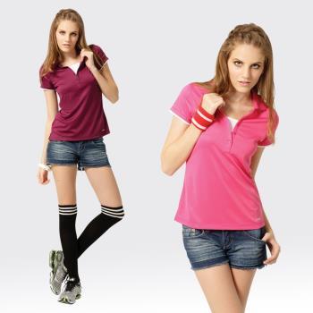 【SAMLIX山力士】女款 MIT 台灣製 吸濕排汗 涼爽紗 短袖 POLO衫#SP210(紫色.桃紅)