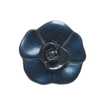 CHANEL 香奈兒經典山茶花造型戒指(孔雀藍)