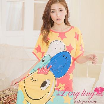 lingling日系 全尺碼-俏皮笑臉牛奶絲短袖連身裙睡衣(俏皮黃)A2834-01