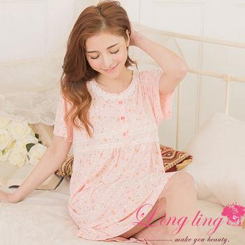 lingling日系 全尺碼-棉質小碎花蕾絲短袖連身洋裝睡衣(溫暖淺桔)A2883
