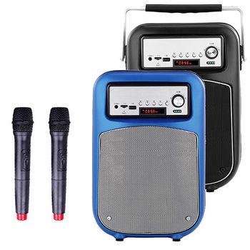 大聲公晶鑽型無線式多功能行動音箱/喇叭 (雙麥克風組)