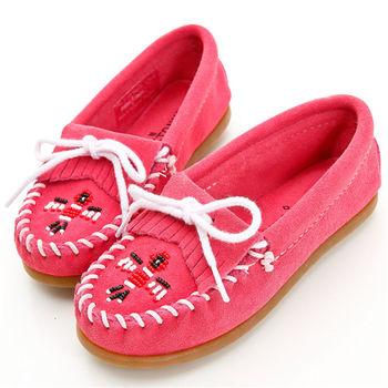 MINNETONKA 經典粉紅麂皮串珠雷鳥莫卡辛 童鞋
