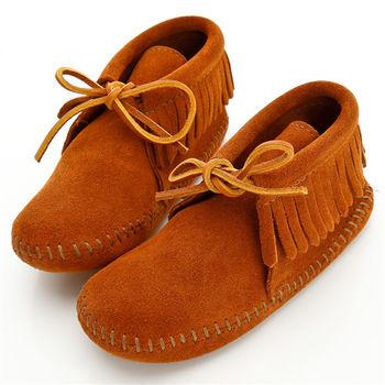 MINNETONKA 流蘇麂皮一體成型褐色短靴 童鞋
