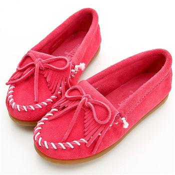 MINNETONKA 麂皮粉紅蝴蝶結平底鞋 童鞋