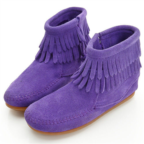 MINNETONKA 雙層流蘇麂皮紫色短靴 童鞋