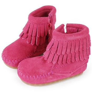 MINNETONKA 粉紅色雙層流蘇麂皮莫卡辛 嬰兒短靴