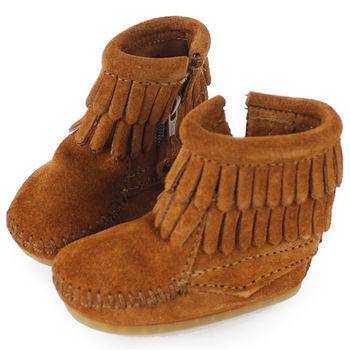 MINNETONKA 紅棕色雙層流蘇麂皮莫卡辛 嬰兒短靴