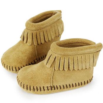 MINNETONKA 卡其色後貼式麂皮莫卡辛 嬰兒短靴