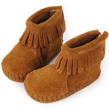 MINNETONKA 紅棕色後貼式麂皮莫卡辛 嬰兒短靴