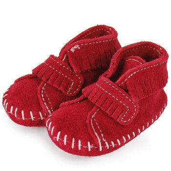 MINNETONKA 紅色一體成形流蘇麂皮莫卡辛 嬰兒鞋