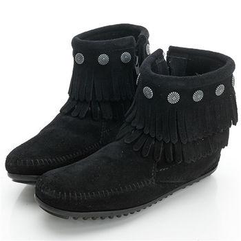 MINNETONKA 黑色純手工鉚釘二層流蘇短靴-699