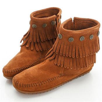MINNETONKA 棕色純手工鉚釘二層流蘇短靴-692