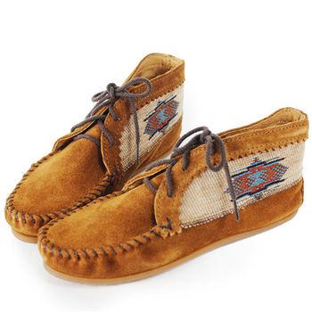 MINNETONKA 深棕色麂皮刺繡莫卡辛 女短靴-572