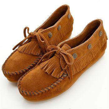 MINNETONKA 個性棕色麂皮流蘇鉚釘短靴 女鞋-533