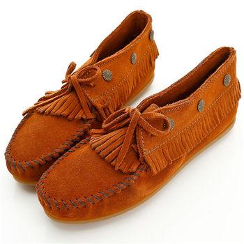 MINNETONKA 個性紅棕麂皮流蘇鉚釘短靴 女鞋-532