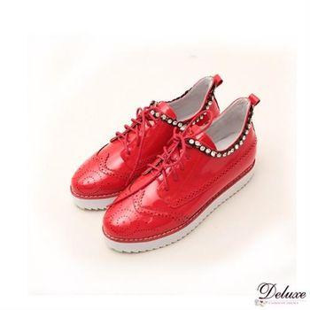 【Deluxe】漆皮繽紛旋律鑲鏈鑽帥氣厚底牛津鞋(紅/白)