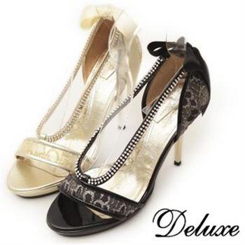 【Deluxe】閃耀U字水鑽線條高跟鞋(黑/金)
