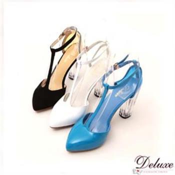 【Deluxe】T字繫帶透明粗跟小尖頭鞋(白/黑/藍)
