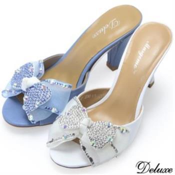 【Deluxe】柔美透明網紗蝴蝶結燙鑽真皮涼拖鞋(藍)