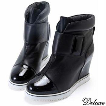 【Deluxe】真皮內增高高筒休閒鞋(黑)