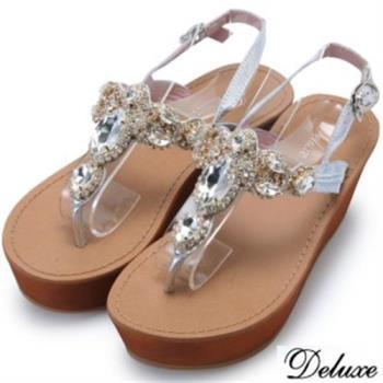 【Deluxe】全真皮不規則水晶鑽楔型涼跟鞋(銀)