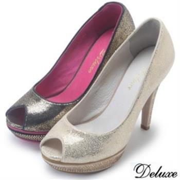 【Deluxe】全真皮高貴金粉鑽魚口高跟鞋(黑/金)