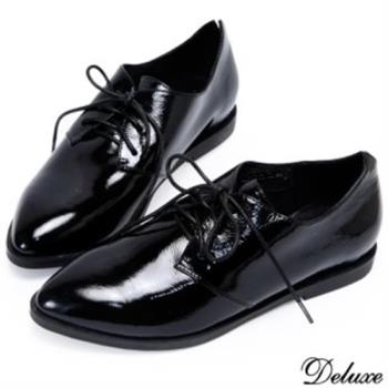 【Deluxe】尖頭復古牛津綁帶黑皮鞋(黑)