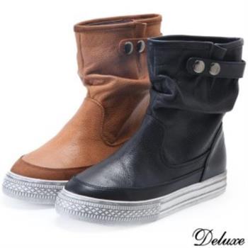 【Deluxe】真皮復古平底短靴(咖/黑兩色)