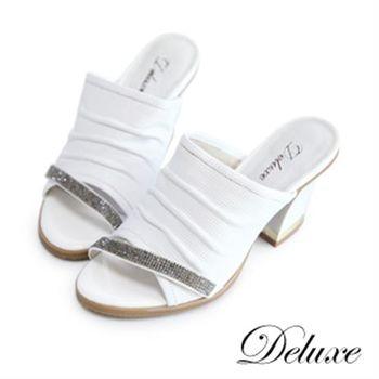 【Deluxe】燙鑽粗跟高跟涼鞋(純白)