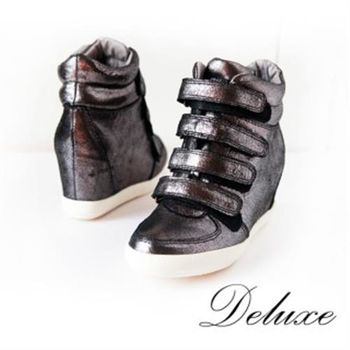 【Deluxe】爆裂紋羊皮高筒內增高休閒鞋(灰)