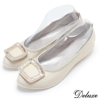 【Deluxe】全真皮素雅方框排列水鑽平底娃娃鞋(米)