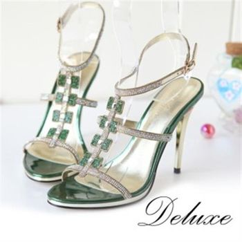 【Deluxe】紅綠寶色貼膚鑽飾水鑽高跟涼鞋(綠/紅)