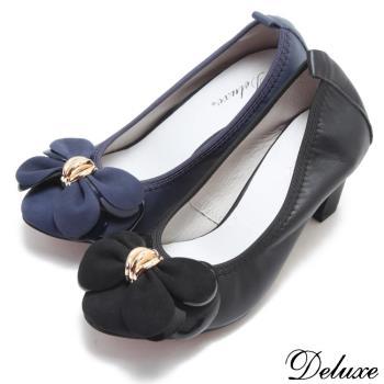 【Deluxe】點金蝴蝶花瓣包頭高跟鞋(黑.藍)