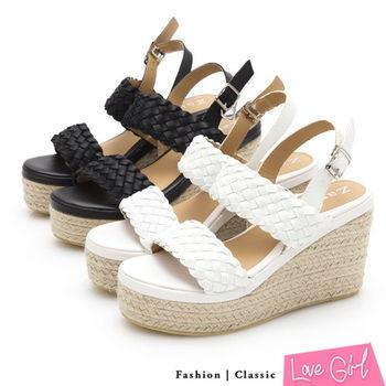 ☆Love Girl☆悠活渡假寬版編織厚底楔型涼鞋