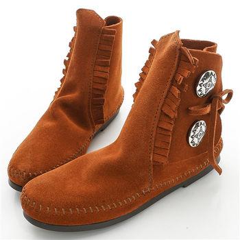 MINNETONKA 棕色 純手工復古麂皮紐扣裝飾踝靴-442