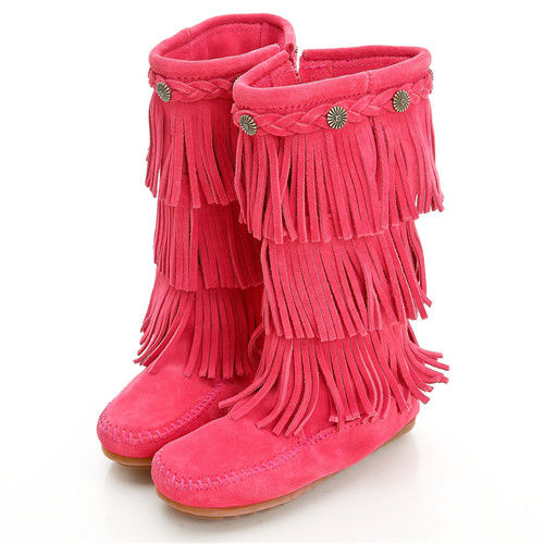 MINNETONKA 牛仔三層流蘇麂皮桃紅色長靴 童鞋