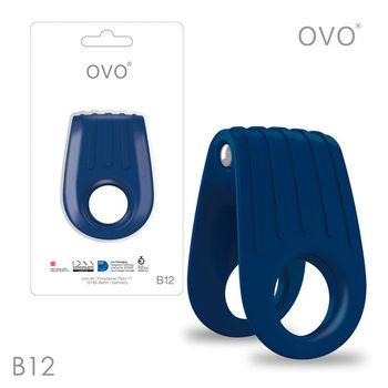 德國OVO-B12 前衛男性 矽膠靜音時尚震動環-深藍