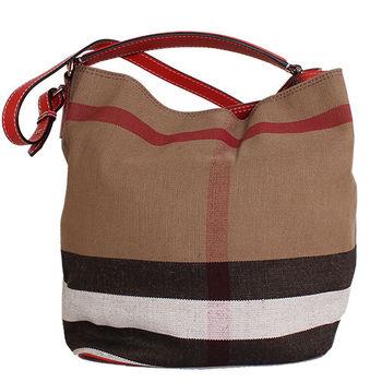 BURBERRY CANVAS 格紋麻料皮革邊手提肩背水桶包 ( 紅色)