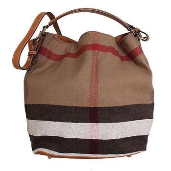 BURBERRY CANVAS 格紋麻料皮革邊手提肩背水桶包 (鞍褐色)