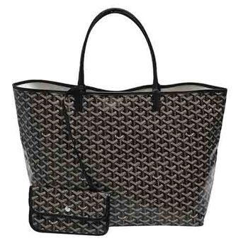 GOYARD St. Louis GM 防水帆布LOGO購物包(大-黑)