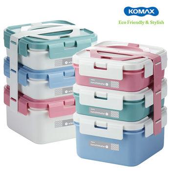 【韓國KOMAX 】三層手提式野餐便當盒組-粉/白兩色