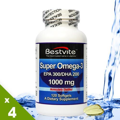 限時搶購【美國BestVite】必賜力超級OMEGA-3魚油膠囊4瓶組 (120顆*4瓶)