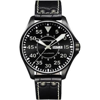 Hamilton KHAKI AVIATION 飛航運動玩家機械腕錶-黑/46mm H64785835