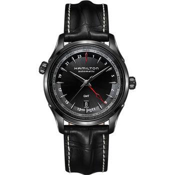 Hamilton JAZZMASTER GMT 雙時區限量機械腕錶-黑/42mm H32685731