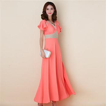 【白色戀人大尺碼】橙色繡珠荷葉袖長款晚禮服