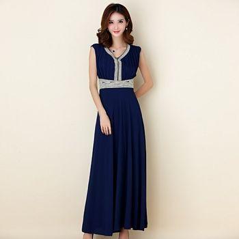 【白色戀人大尺碼】深藍色繡珠修身無袖長款晚禮服